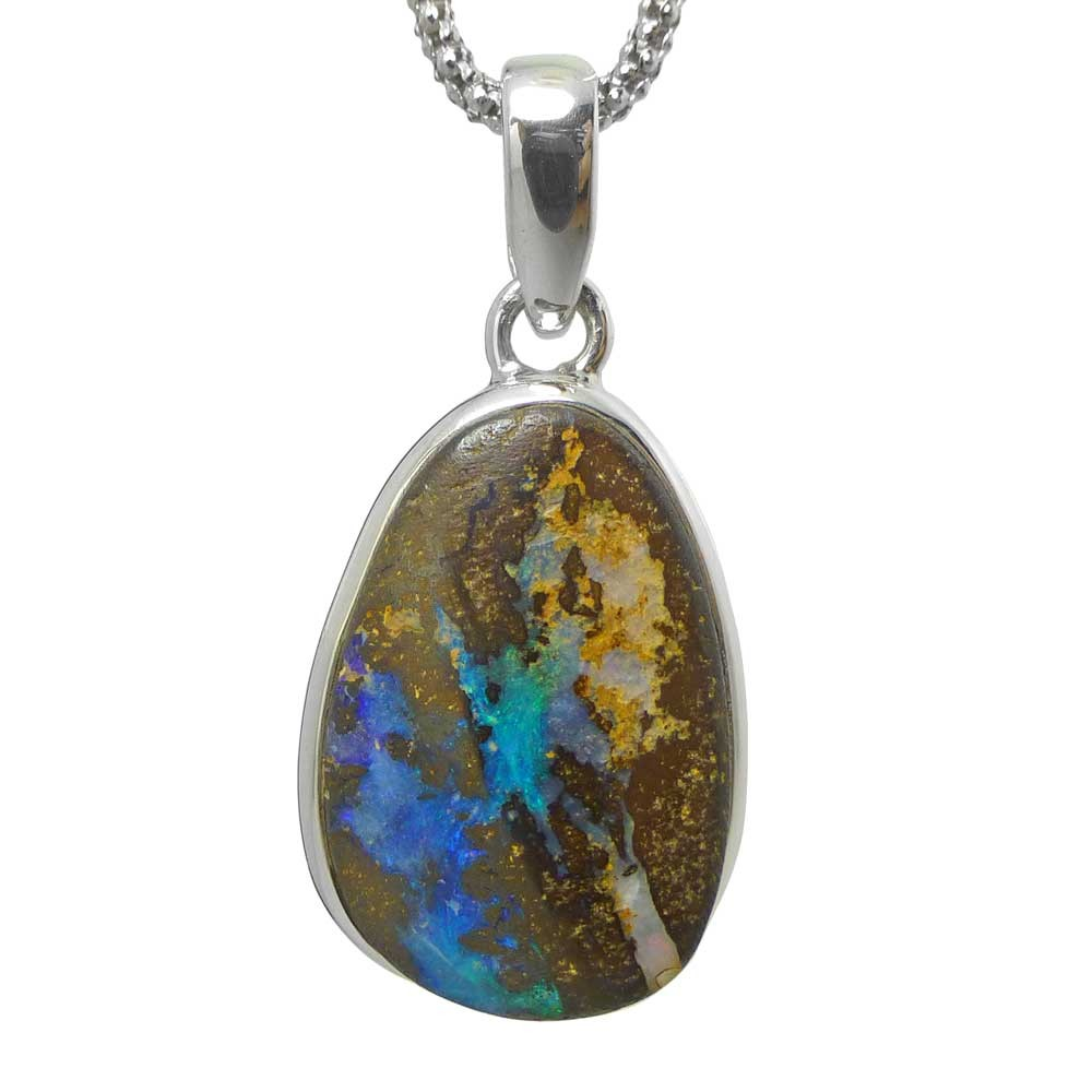 opal flashy oxidized copper handmade woven products wire pendant boulder