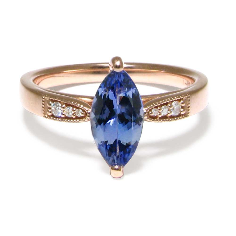 Tanzanite With Diamonds In Rose Gold Ring