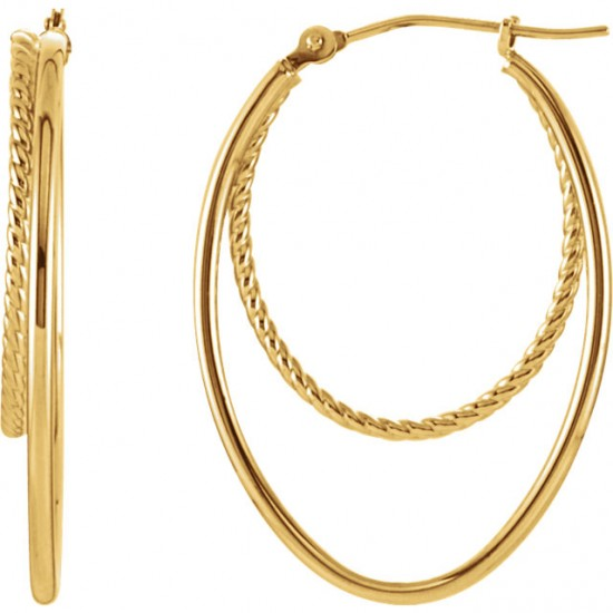 14kt Oval Double Hoop Earrings