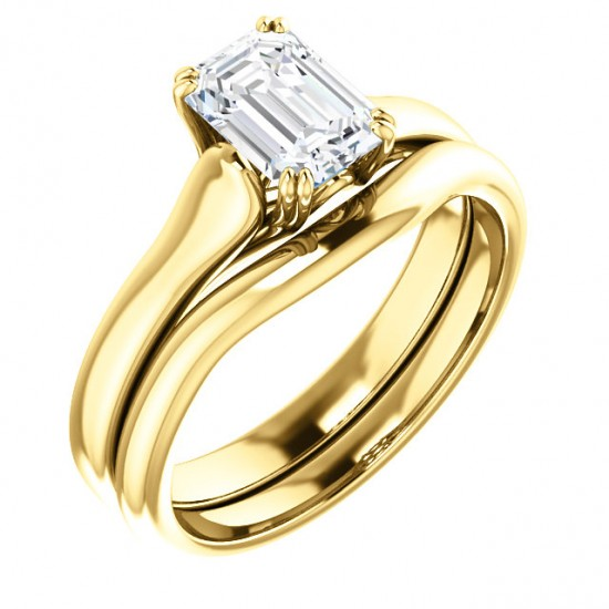 14kt Gold Engagement Ring for Emerald Cut Diamond