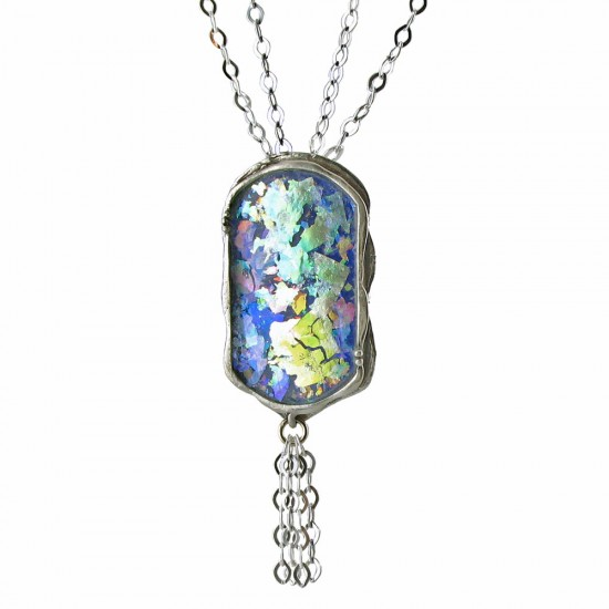 Roman Glass Pendant with Double Link Chain