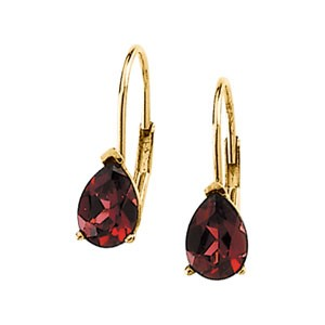 Genuine Rhodolite Garnet Lever Back Earring