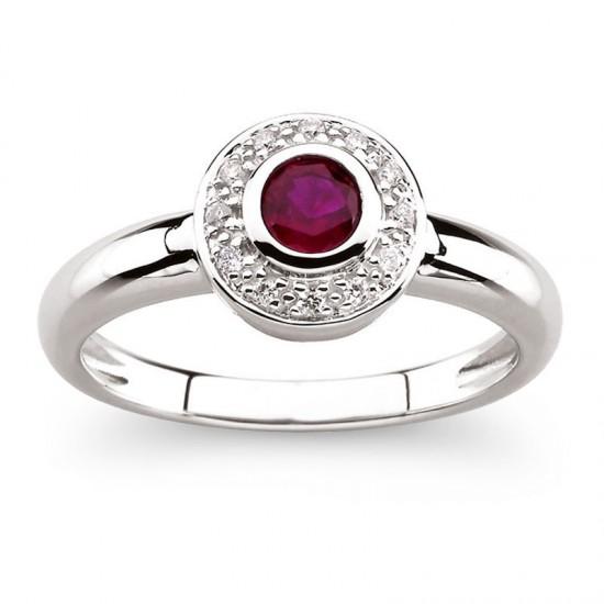 14kt White Gold Bezel Set Ruby Ring