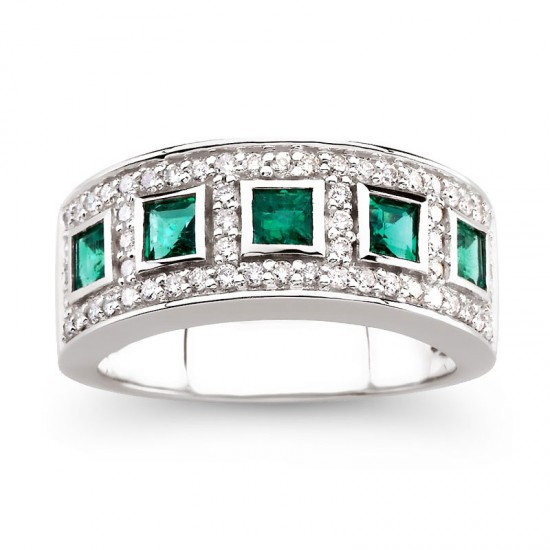 5 Stone Emerald and Diamond Band