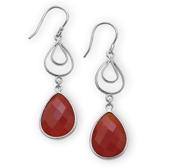 Faceted Carnelian in Dangle Earrings