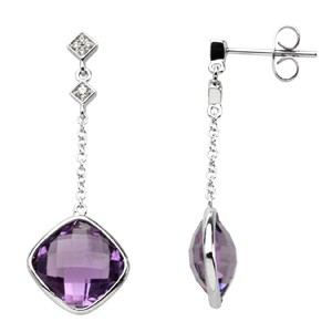 Genuine Checkerboard Amethyst & Diamond Earrings