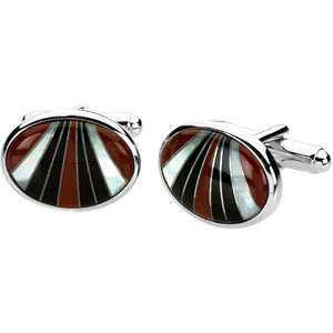Carnelian, Onyx, and Mother of Pearl Cufflinks
