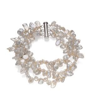 Freshwater Keshi White Pearl Bracelet