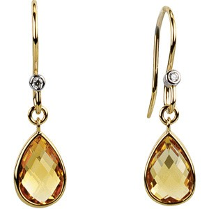 Genuine Citrine & Diamond Earrings