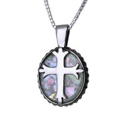 Roman Glass Sterling Cross