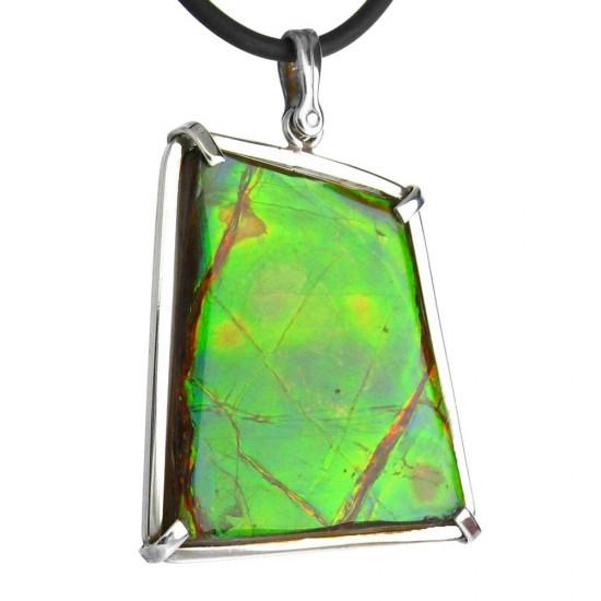 Spectacular Iridescent Green Canadian Ammolite