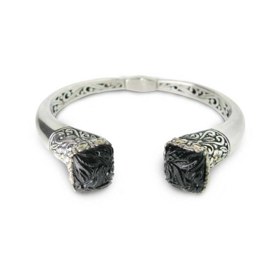 Carved Black Onyx in Hinged Bangle