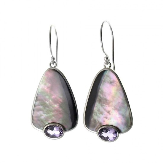 Penguin Shell and Amethyst Earrings