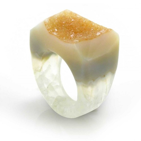 Translucent Brazilian Agate Ring Size 7