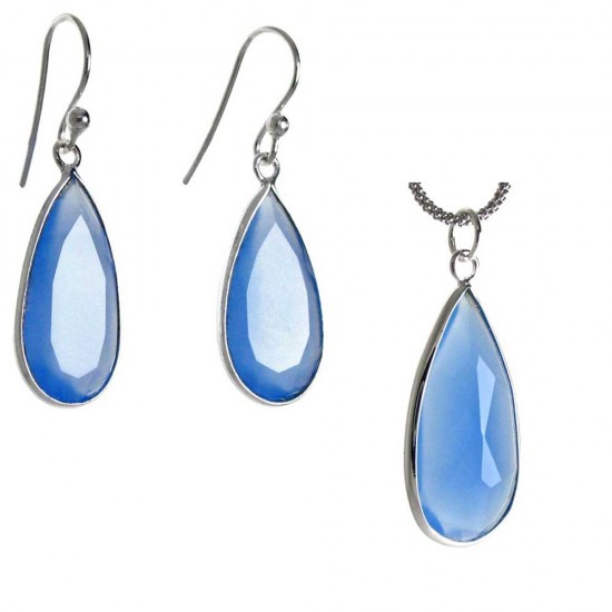 Translucent Chalcedony Pendant and Earring Set