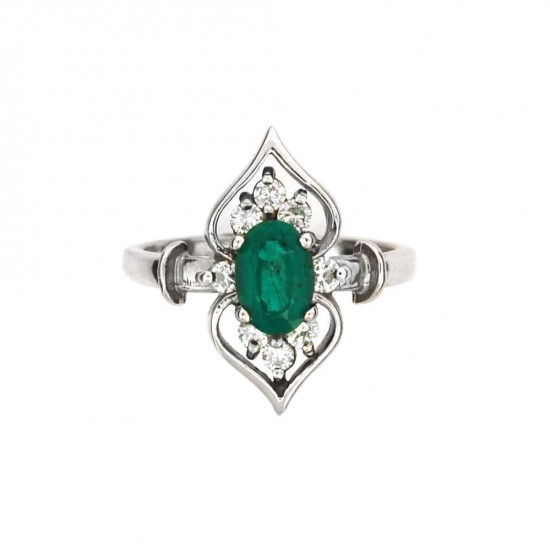 Emerald and Diamond Ring in 14kt White Gold