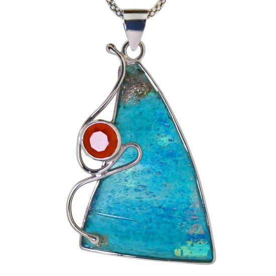 Custom Roman Glass Pendant with Garnet