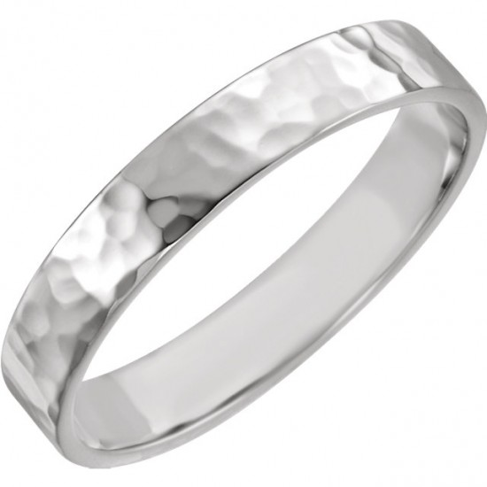 Flat Hammered Finish Wedding Band