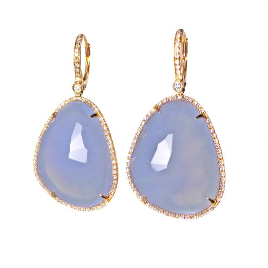Chalcedony Earrings in Rose Gold with Diamonds