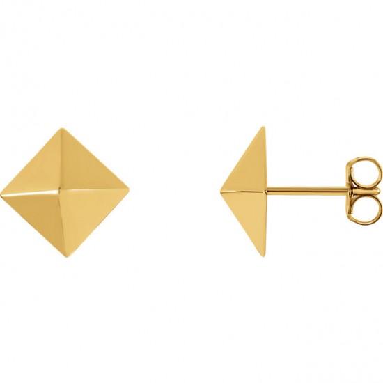 Pyramid Gold Earrings