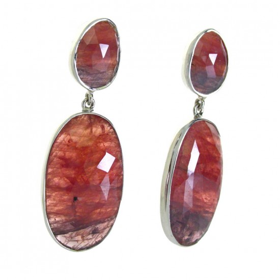 Natural Faceted Ruby Earrings