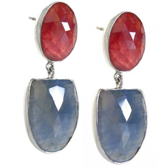 Natural Faceted Sapphire and Ruby Earrings