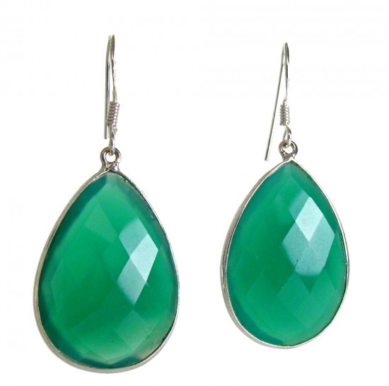 Large Faceted Green Agate Earrings