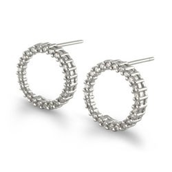 Diamond Circle Earrings, 1/2Ct