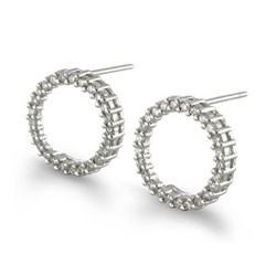 Diamond Circle Earrings, 1/2Ct