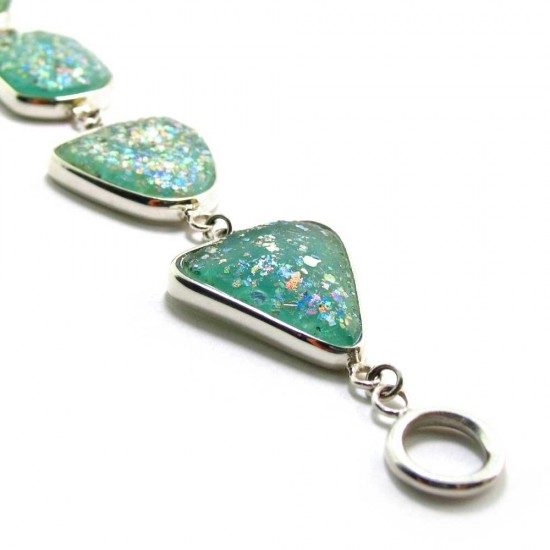 Iridescent Blue- Green Roman Glass Bracelet