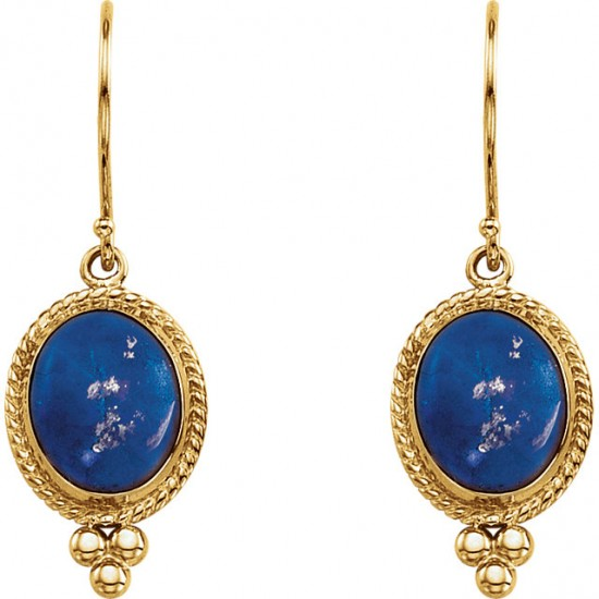 Genuine Lapis 14kt Earrings