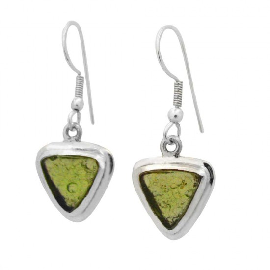 Triangular Cut Moldavite Earrings