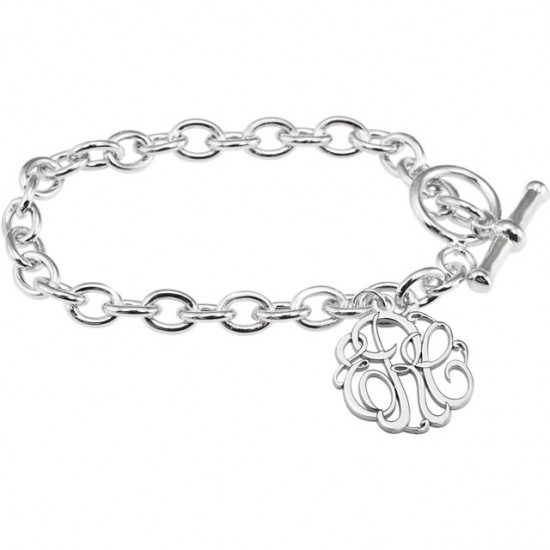 Three Initial Monogram Bracelet