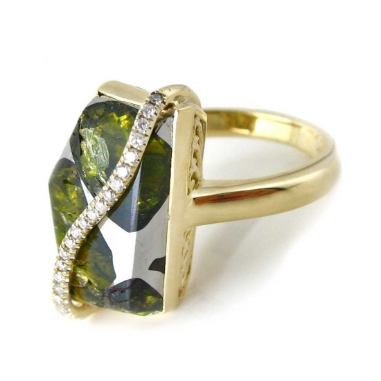 Esquel Pallasite Gold Ring