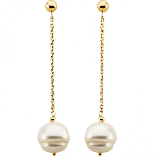 Freshwater Circle Pearl Chain Dangle Earrings
