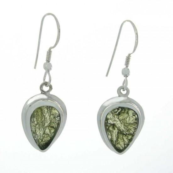 Pear Cut Moldavite Earrings