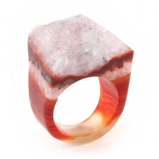 Agate Crystal Ring Size 7