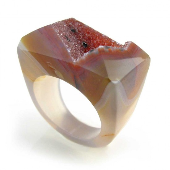 Brazilian Agate Crystal Ring Size 8.5