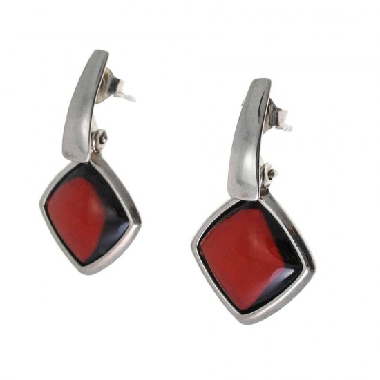 Faceted Red Amber Drop Earrings