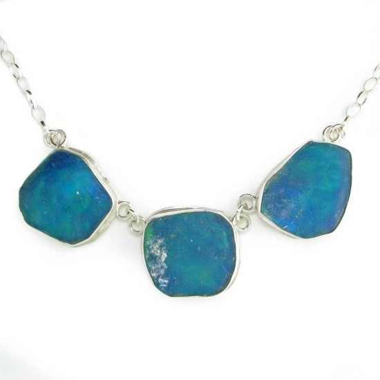 Freeform Three Piece Roman Glass Necklace