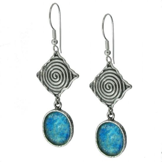 Long Drop Roman Glass Earrings