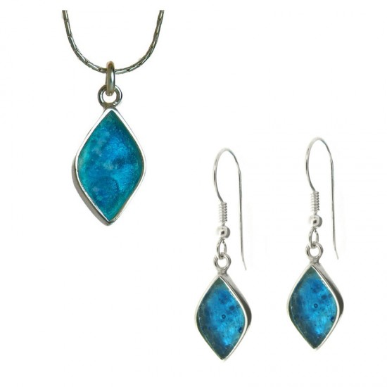 Marquise Shaped Roman Glass Pendant and Earring Set