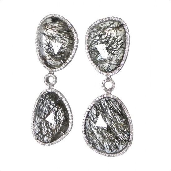 Rutilated Quartz and Diamond Earrings