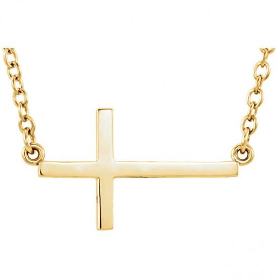 14kt Gold Sideways Cross on Chain