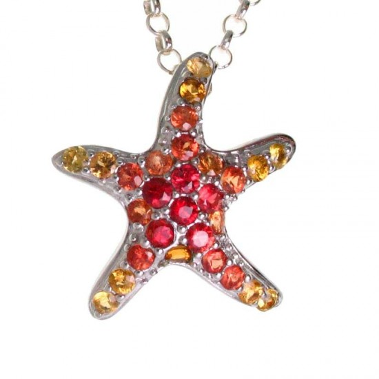 Starfish Pendant with Fancy Colored Sapphires