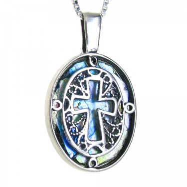 2,000 Year Old Roman Glass Sterling Silver Cross