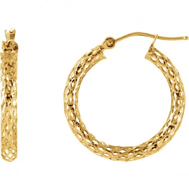 Diamond Cut Pierced Hoop Earrings in 14KT Gold