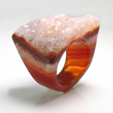 Banded Brazilian Agate Ring Size 6.5