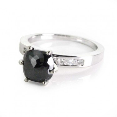 Black Diamond in 14kt White Gold Ring