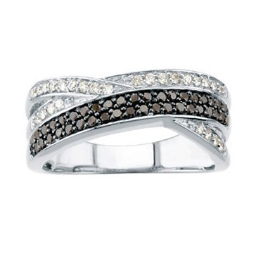 Black and White Interwoven Diamond Band